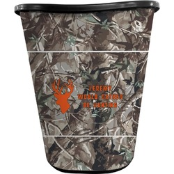 Hunting Camo Waste Basket - Double Sided (Black) (Personalized)