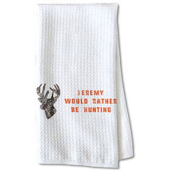 Hunting Camo Waffle Weave Kitchen Towel - Partial Print (Personalized)