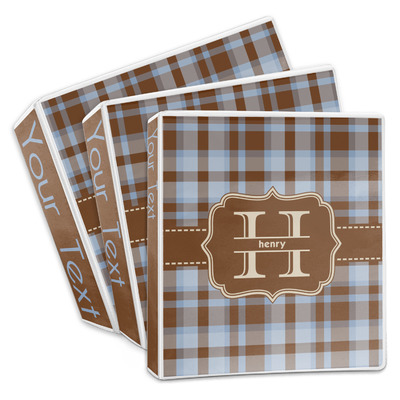 Two Color Plaid 3-Ring Binder (Personalized)