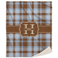 Two Color Plaid Sherpa Throw Blanket (Personalized)