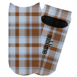Two Color Plaid Adult Ankle Socks (Personalized)