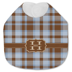 Two Color Plaid Jersey Knit Baby Bib w/ Name and Initial
