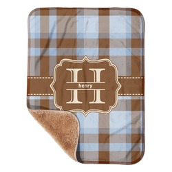 """Two Color Plaid Sherpa Baby Blanket 30"""" x 40"""" (Personalized)"""