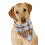 Two Color Plaid Dog Bandana Scarf w/ Name and Initial