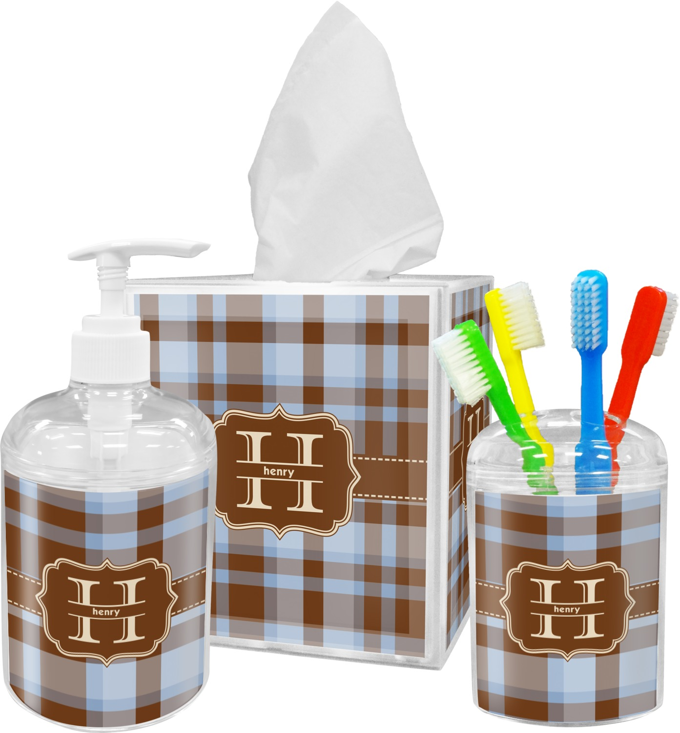 Two Color Plaid Bathroom Accessories Set Personalized