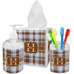 Two Color Plaid Bathroom Accessories Set (Personalized)