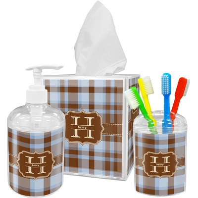 Two color plaid bathroom accessories set personalized for Coloured bathroom accessories set