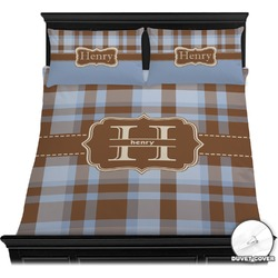 Two Color Plaid Duvet Cover Set (Personalized)