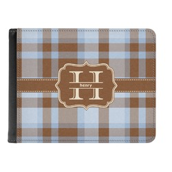 Two Color Plaid Genuine Leather Men's Bi-fold Wallet (Personalized)