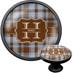 Two Color Plaid Cabinet Knob (Black) (Personalized)