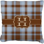 Two Color Plaid Faux-Linen Throw Pillow (Personalized)