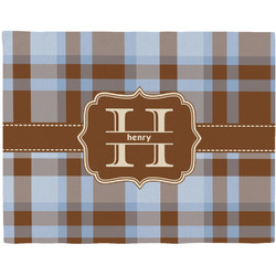 Two Color Plaid Woven Fabric Placemat - Twill w/ Name and Initial