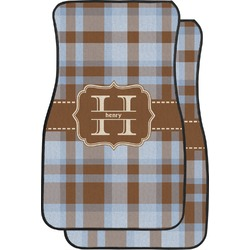 Two Color Plaid Car Floor Mats (Front Seat) (Personalized)