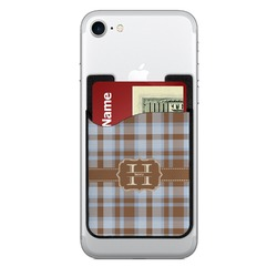 Two Color Plaid 2-in-1 Cell Phone Credit Card Holder & Screen Cleaner (Personalized)