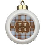 Two Color Plaid Ceramic Ball Ornament (Personalized)