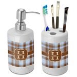 Two Color Plaid Bathroom Accessories Set (Ceramic) (Personalized)