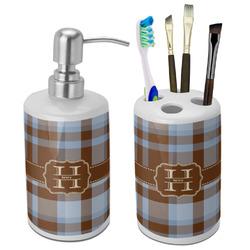 Two Color Plaid Bathroom Accessories Set (Ceramic) (Personalized)
