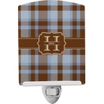 Two Color Plaid Ceramic Night Light (Personalized)