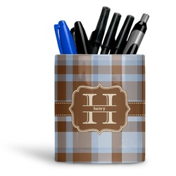 Two Color Plaid Ceramic Pen Holder