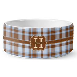 Two Color Plaid Ceramic Dog Bowl (Personalized)