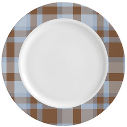 Two Color Plaid Ceramic Dinner Plates (Set of 4) (Personalized)