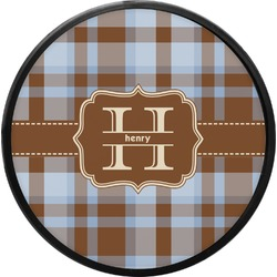 Two Color Plaid Round Trailer Hitch Cover (Personalized)