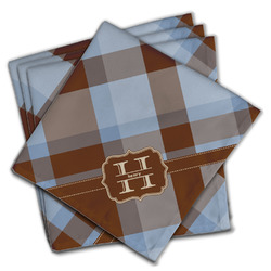 Two Color Plaid Cloth Napkins (Set of 4) (Personalized)