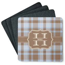 Two Color Plaid 4 Square Coasters - Rubber Backed (Personalized)