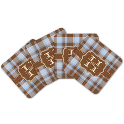 Two Color Plaid Cork Coaster - Set of 4 w/ Name and Initial
