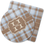 Two Color Plaid Rubber Backed Coaster (Personalized)