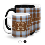 Two Color Plaid Coffee Mugs (Personalized)