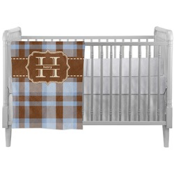 Two Color Plaid Crib Comforter / Quilt (Personalized)