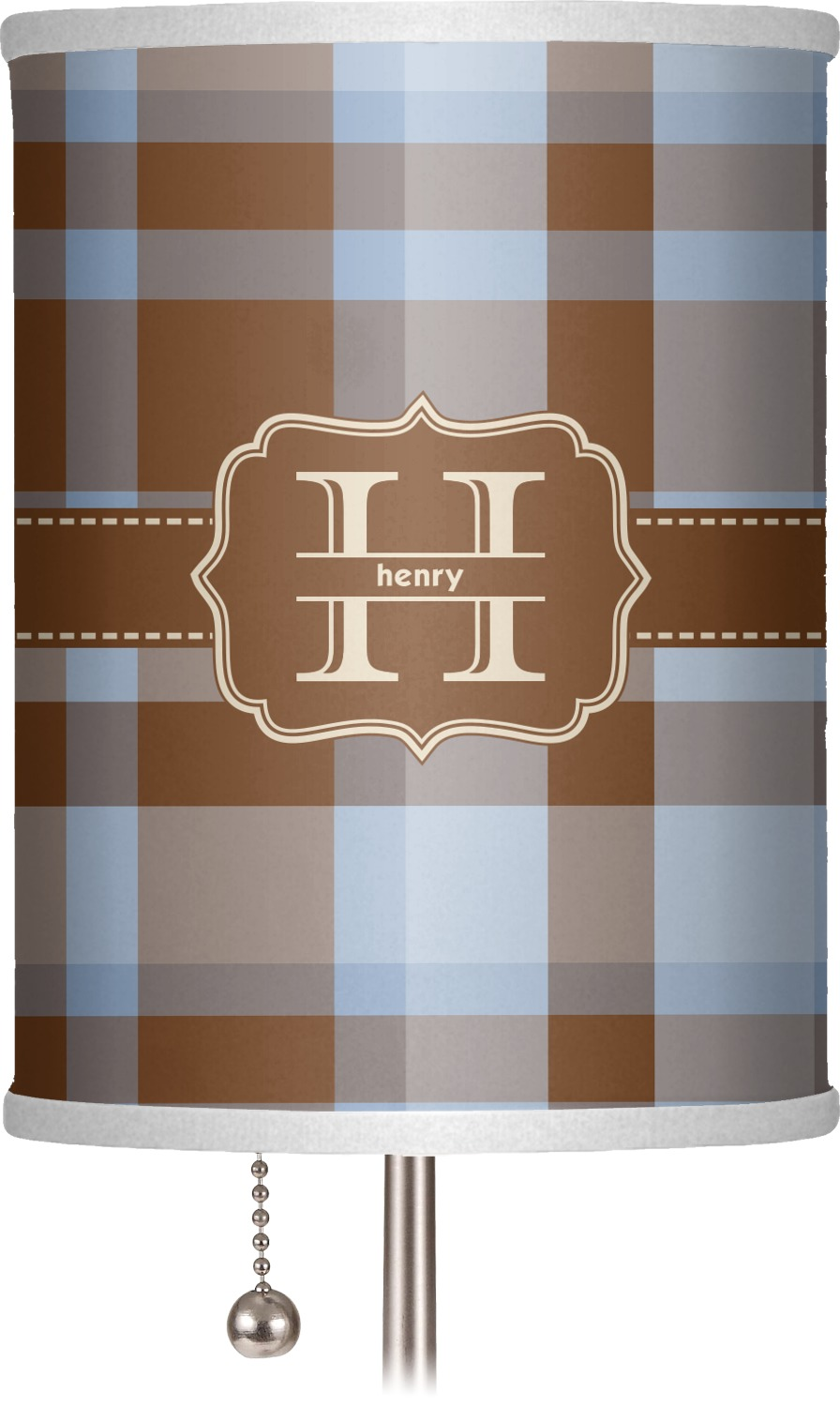 Two Color Plaid Drum Lamp Shade Linen Personalized