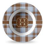 Two Color Plaid Plastic Bowl - Microwave Safe - Composite Polymer (Personalized)