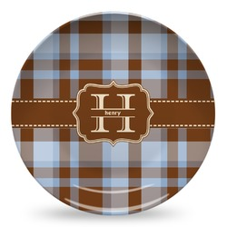 Two Color Plaid Microwave Safe Plastic Plate - Composite Polymer (Personalized)