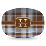 Two Color Plaid Plastic Platter - Microwave & Oven Safe Composite Polymer (Personalized)