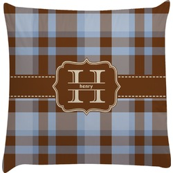 Two Color Plaid Decorative Pillow Case (Personalized)