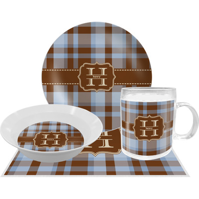 Two Color Plaid Dinner Set - 4 Pc (Personalized)