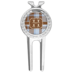 Two Color Plaid Golf Divot Tool & Ball Marker (Personalized)