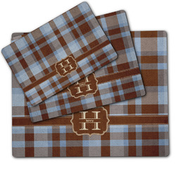 Two Color Plaid Dog Food Mat w/ Name and Initial