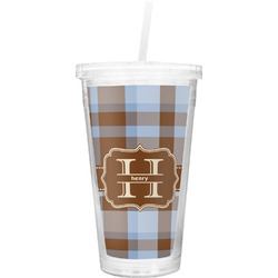 Two Color Plaid Double Wall Tumbler with Straw (Personalized)