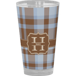 Two Color Plaid Drinking / Pint Glass (Personalized)