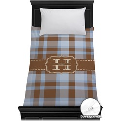 Two Color Plaid Duvet Cover - Twin (Personalized)