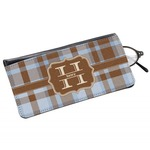 Two Color Plaid Genuine Leather Eyeglass Case (Personalized)