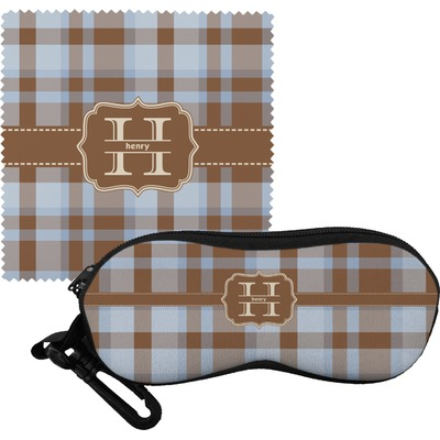 Two Color Plaid Eyeglass Case & Cloth (Personalized)