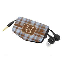 Two Color Plaid Genuine Leather Cord Wrap (Personalized)