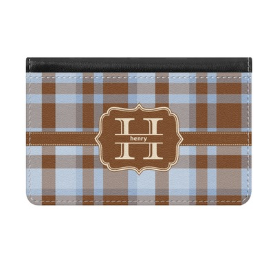 Two Color Plaid Genuine Leather ID & Card Wallet - Slim Style (Personalized)