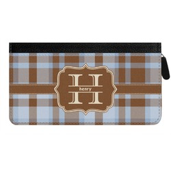 Two Color Plaid Genuine Leather Ladies Zippered Wallet (Personalized)