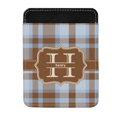 Two Color Plaid Genuine Leather Money Clip (Personalized)
