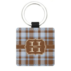 Two Color Plaid Genuine Leather Rectangular Keychain (Personalized)